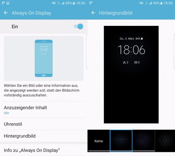 Die Einstellungsoptionen des Always-On-Displays beim Samsung Galaxy S7 (edge). (Screenshots: t3n)