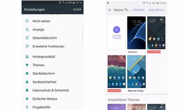 Mithilfe der Themes könnt ihr das Galaxy S7 nach eigenen Wünschen gestalten. (Screenshot: t3n)
