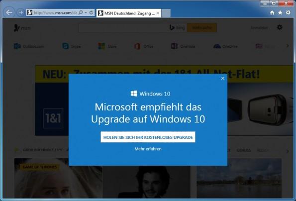 Microsoft beweist mit seiner eingeschmuggelten Windows-10-Werbung kein gutes Händchen. (Screenshot: heise)