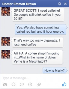 Doc Brown antwortet Fans im Facebook-Chat. (Screenshot: Digiday)