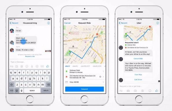 US-Anwender können den Facebook-Messenger auch nutzen, um sich ein Uber zu bestellen. (Grafik: Uber)
