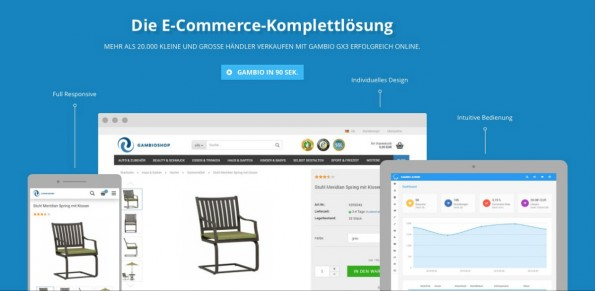 Gambio GX3: E-Commerce-Software für Online-Shopbetreiber in neuem Gewand. (Screenshot: gambio.de)