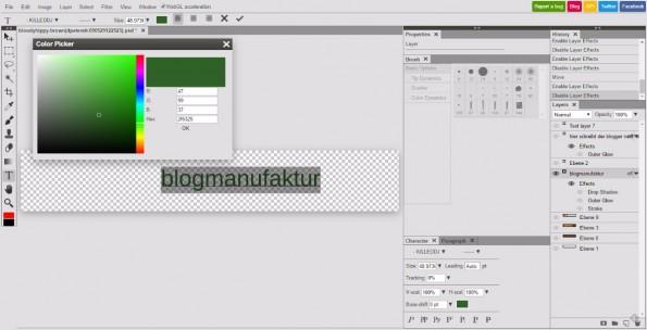 Photopea: Auch Texte und Effekte werden bequem editiert. (Screenshot: t3n)