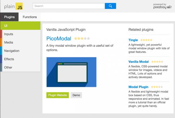 PlainJS: Details zum jeweiligen Projekt (Screenshot: t3n)