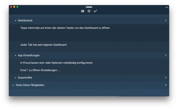 Proud überzeugt auch auf dem Mac durch ein minimalistisches Design und einige sehr praktische Funktionen. (Screenshot: Proud for Mac)
