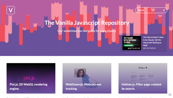 The Vanilla JavaScript Repository: Startseite (Screenshot: t3n)