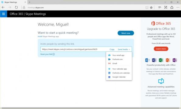 Mit Skype Meetings bietet Microsoft jetzt auch eine webbasierte Videokonferenzlösung für Unternehmen an. (Screenshot: Microsoft)