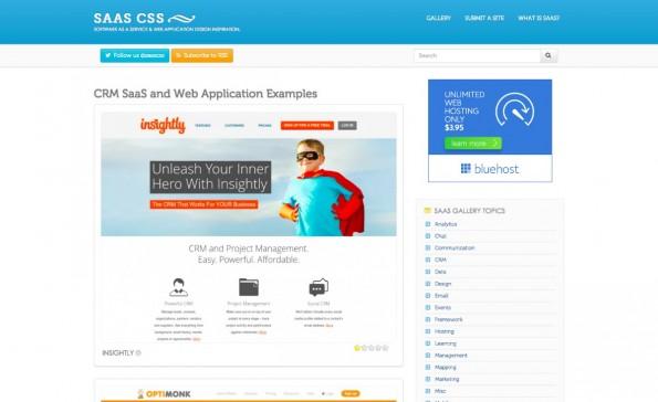 """Inspiration: """"SaaS CSS"""" versammelt gelungene und weniger gelungene Homepages von SaaS-Anbietern. (Screenshot: saascss.com)"""