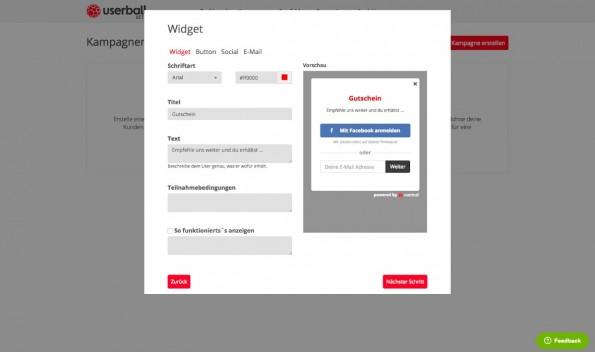 Userball soll die Erstellung einer Empfehlungsmarketing-Kampagne so einfach wie möglich machen. (Screenshot: Userball)