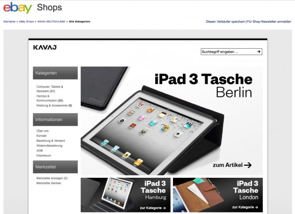 eBay soll für die Umsätze von Kavaj eine völlig untergeordnete Rolle spielen. Stand 09. August sind auch nur rund 1200 bewertete Transaktionen dort zu sehen. (Screenshot: eBay)