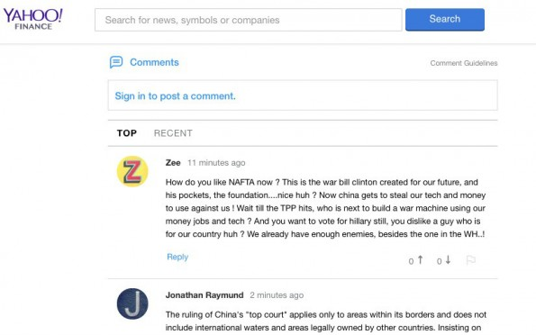 Yahoo-KI soll die Kommentarspalten sauber halten. (Screenshot: t3n/Yahoo)