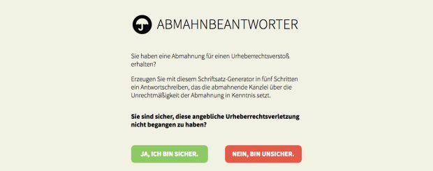 Abmahnung: Mit dem Abmahnbeantworter sollen sich Betroffene zur Wehr setzen können. (Screenshot: abmahnbeantworter.ccc.de)