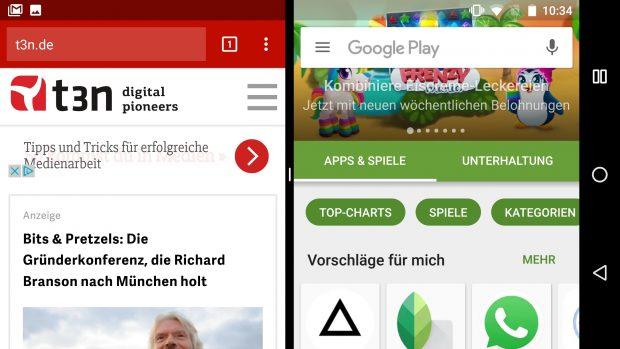 Multi-Window-Modus ist unter Android 7.0: Auch auf dem Smartphone nutzbar. (Screenshot: t3n)