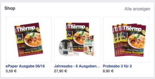 """Das Shop-Widget auf der Facebook-Fanseite von """"Mein Thermo"""". (Screenshot: OMR)"""