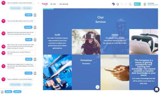 Homepage-Baukasten: Der Heek-Chatbot führt euch Schritt für Schritt durch den Erstellungsprozess. (Screenshot: Heek)