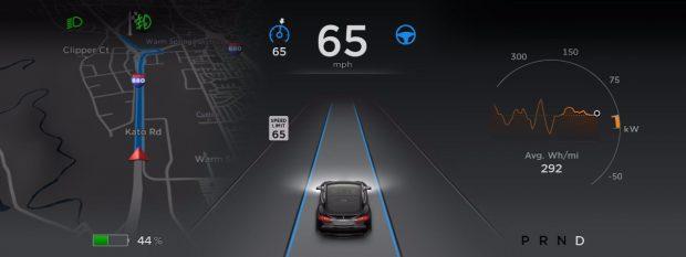 Autopilot von Tesla: Das Update auf Version 8.0 soll für mehr Sicherheit sorgen. (Screenshot: Tesla)