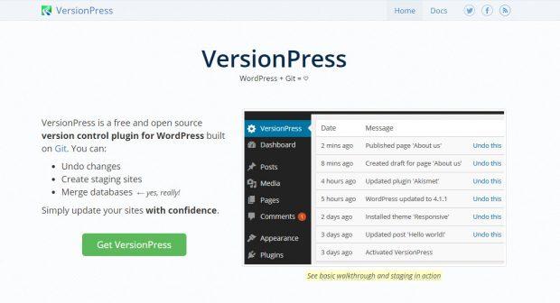 VersionPress, die umfassendste Verbindung zwischen WordPress und Git. (Screenshot: t3n)