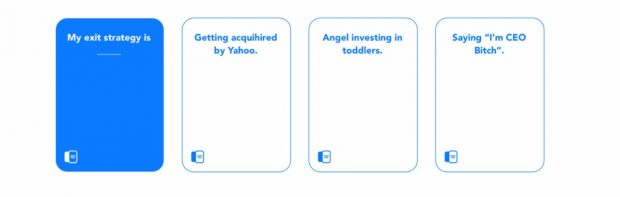 Startup-Kartenspiel: Disrupt Cards orientiert sich an Cards against Humanity. (Grafik: disrupt.cards)