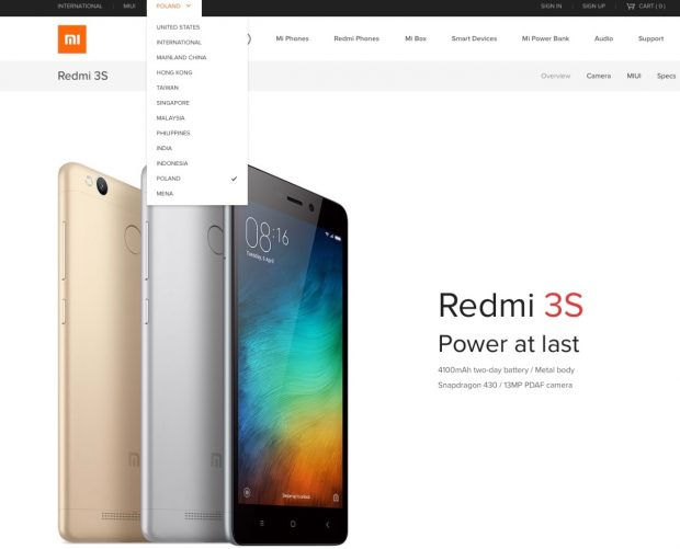 Auf der offiziellen Xiaomi-Website gibt es eine polnische Unterseite. (Screenshot: Mi.com/t3n)