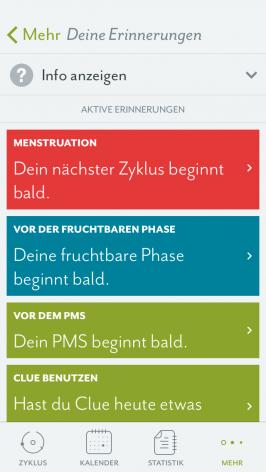So sieht die App aus. (Screenshot: Clue)