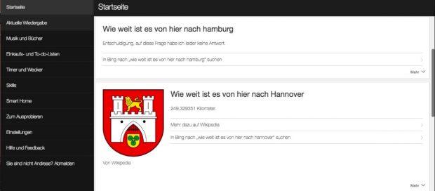 Erratisch: Alexa weiß wie weit es von Berlin nach Hannover ist. Die Entfernung nach Hamburg ist dem Assistenten aber unbekannt. (Bild: t3n)