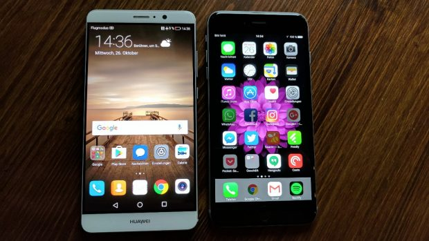 Huawei Mate 9 vs iPhone 6s Plus. (Foto: t3n)