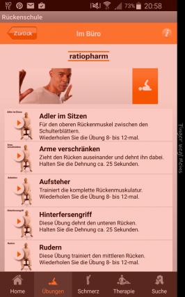 Apps für die Mittagspause - den Rücken schnell wieder fit machen (Screenshot: ratiopharm)