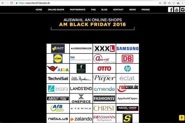 Die Aufstellung der anscheinend bei Blackfridaysale.de vertretenen Marken ist beachtlich. (Screenshot: Blackfridaysale.de)
