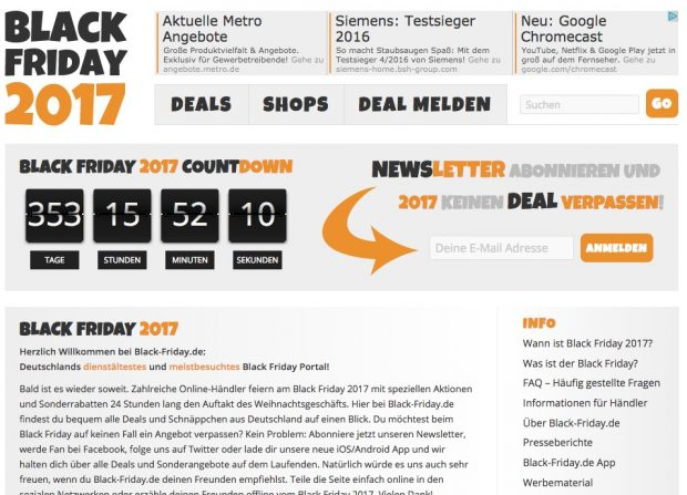 Simon Galls Black-Friday-Portal. (Screenshot: Black-Friday.de)