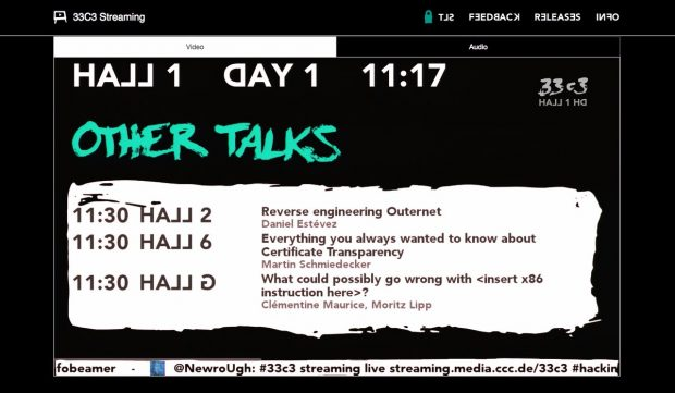 33c3: Auch vom Chaos Communication Congress 2016 gibt es Live-Streams. (Screenshot: streaming.media.ccc.de)
