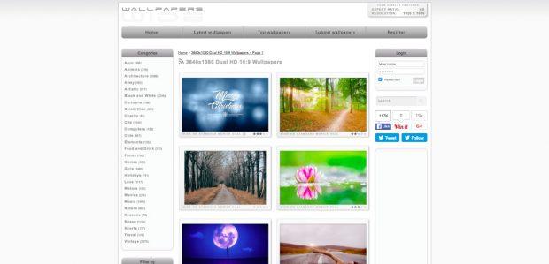 Bildschirmhintergründe für mehrere Monitore hat auch Wallpapers Wide im Angebot. (Screenshot: wallpaperswide.com)