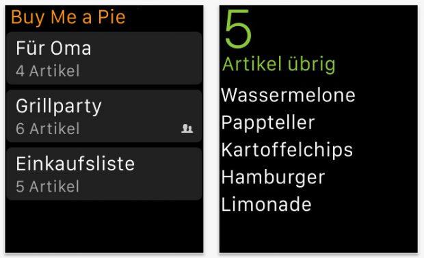 Praktische App für die Apple Watch: Ein Einkaufszettel am Handgelenk. (Screenshot: App-Store)