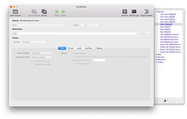 Video-Transcoder: Handbrake erreicht nach 13 Jahren Version 1.0.0. (Screenshot: Handbrake v1.0.0)