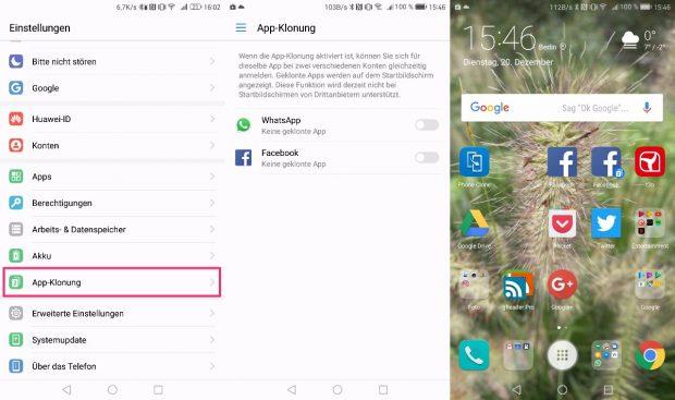 Zweimal WhatsApp auf dem Mate 9: App-Klonung machts möglich. (Bild: t3n)