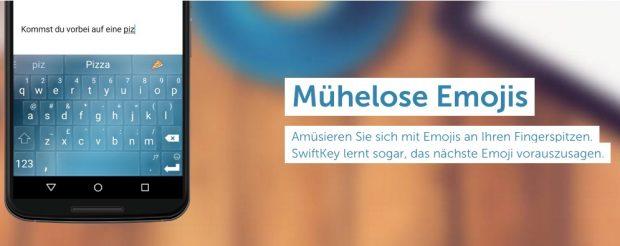 Emojis werden euch in der Swiftkey-Tastatur während des Tippens angezeigt. (Bild: Swiftkey)