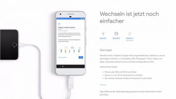 Google bietet für seine Pixel-Phones zusätzlich eine kabelgebundene Datenmigration an. (Bild: Google)