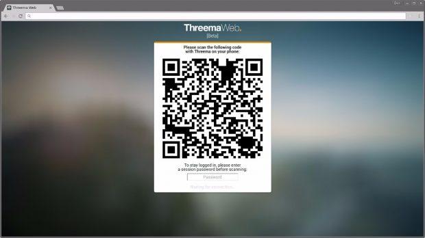 Wie bei Whatsapp Web findet der Verbindungsaufbau zwischen App und Browser per QR-Code statt. Optional könnt ihr für die Wiederherstellung einer Session ein Passwort vergeben. (Bild: Threema)