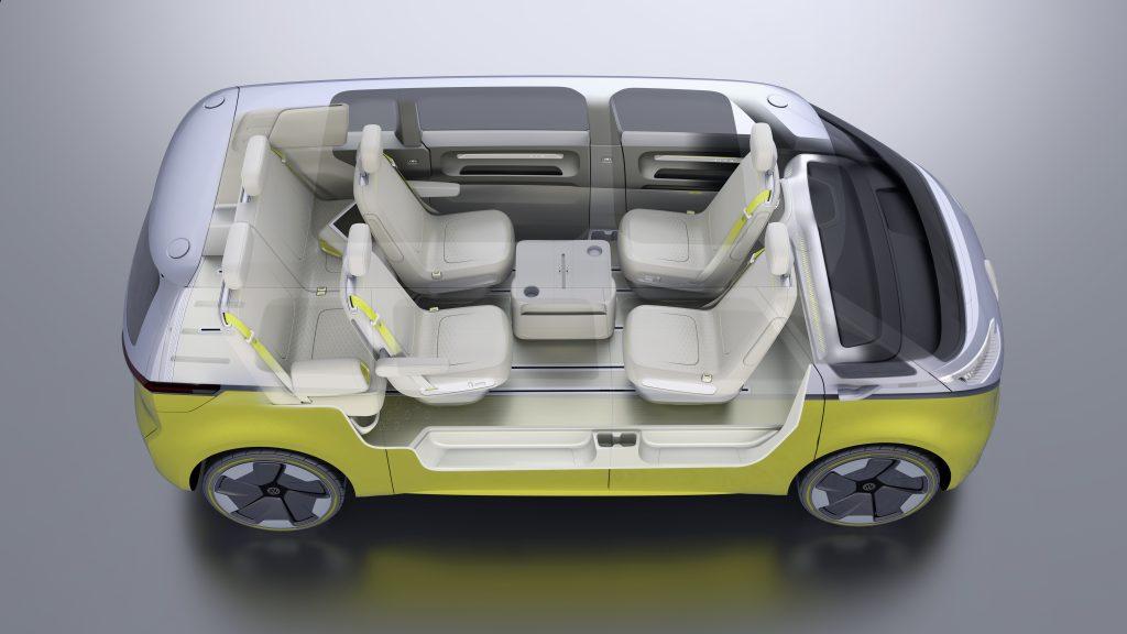 Blick in den Innenraum des VW ID Buzz.