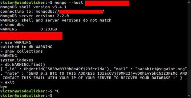 Der Angreifer hat MongoDB-Datenbanken gelöscht und für die Wiederherstellung Lösegeld verlangt. (Screenshot: Victor Gevers)