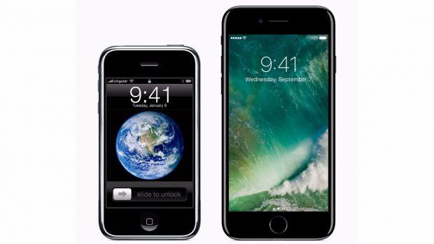 iPhone 2G und iPhone 7 im nebeneinander – das iPhone 8 könnte komplett anders aussehen. (Bild: Apple)