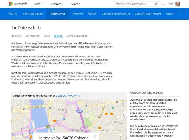 Windows 10: Über dieses Web-Interface könnt ihr die von Microsoft gesammelten Daten einsehen und löschen. (Screenshot: Microsoft)