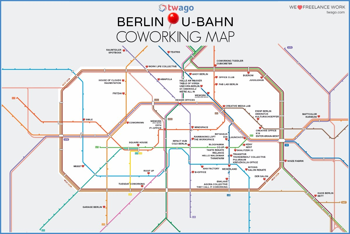 coworking spaces in berlin diese karte zeigt euch die locations entlang des u bahn netzes t3n. Black Bedroom Furniture Sets. Home Design Ideas