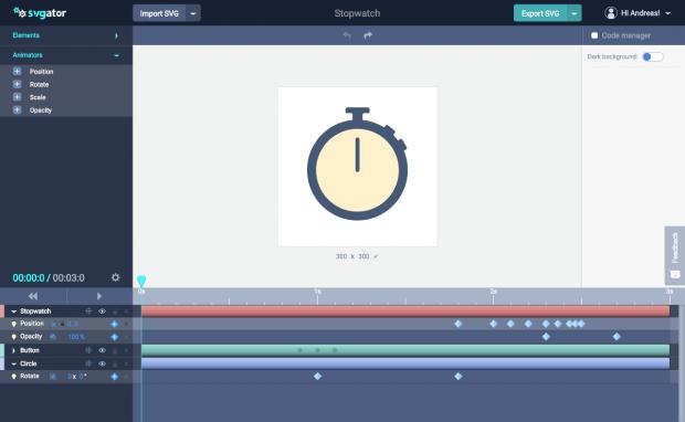 Svgator kommt mit einer aufgeräumten Benutzeroberfläche daher. (Screenshot: t3n.de)