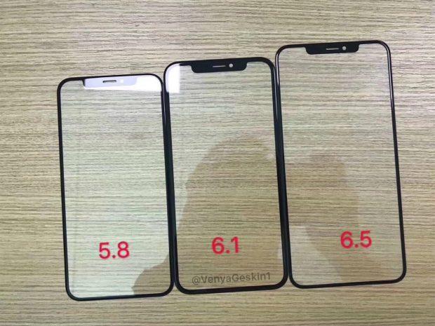 """Erste handfeste Hinweise auf drei iPhone-Modelle: Hier drei unterschiedlich große Frontpanel in den größen 5,8, 6,1 und 6,5 zoll. (Foto: <a href=""""https://twitter.com/VenyaGeskin1/status/1019123637939556352"""">Benjamin Geskin</a>)"""