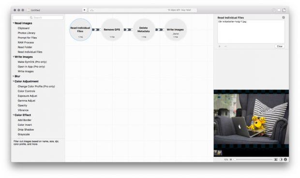 In diesem Fall nur eine einfache Kette, es lassen sich aber auch umfangreichere Szenarien mit Retrobatch umsetzen. (Screenshot: Retrobatch)