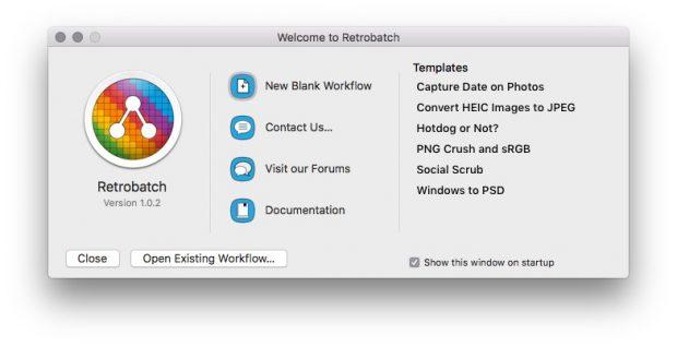 Beim Start von Retrobatch erhalten Nutzer einige vorgefertigte Templates oder können eigene bauen. (Screenshot: Retrobatch)